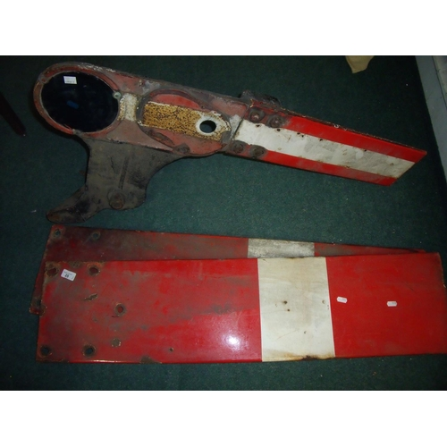 25 - Railway signal arm and two enamel signal arm panels (3)...