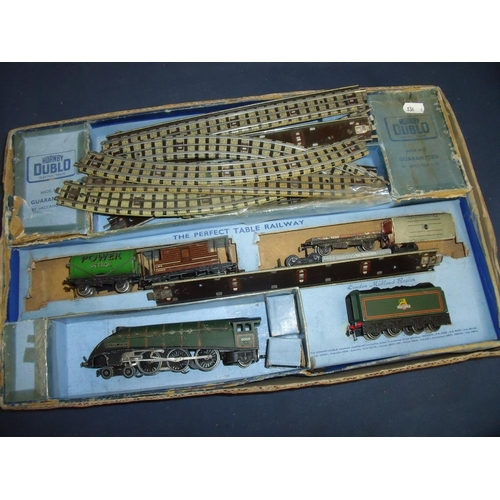 251 - Hornby Dublo three rail ballast track goods set with Silver King locomotive & tender...
