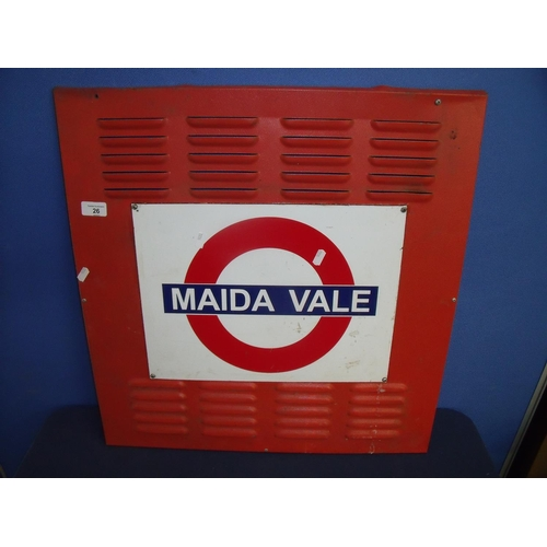 26 - Air-conditioning vent mounted with London Underground Maida Vale sign...