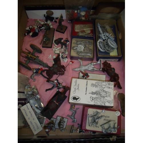 269 - Box containing a quantity of various assorted military miniatures including cast metal, plastic etc ...