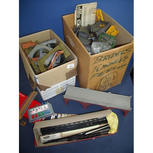 271 - Two boxes of mostly Hornby OO gauge accessories including various bridges, gantries, tunnels, girder...
