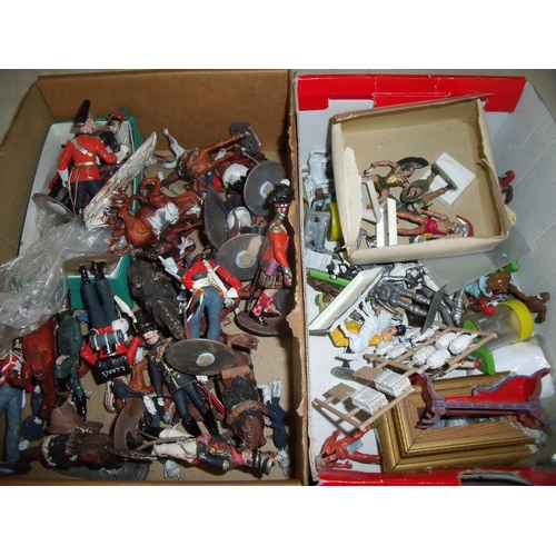 290 - Large quantity of cast metal military miniatures relating to the Napoleonic War period, mostly large...