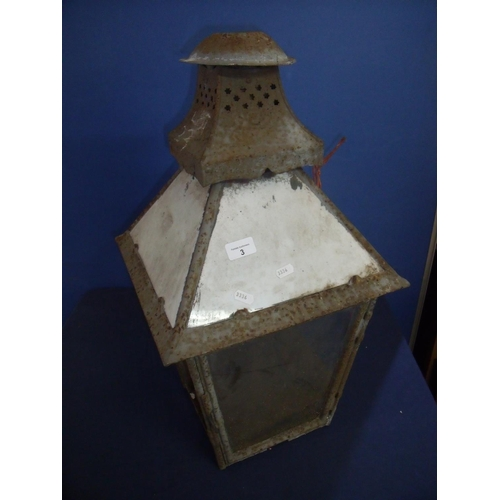 3 - Early railway type platform lantern top with 3 out of 4 opaque glass upper panels and lower glass pa...