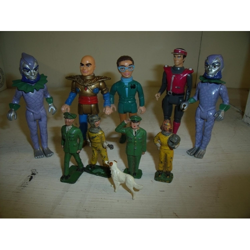 301 - Collection of Matchbox figures including Captain Scarlet, Stingray and Thunderbirds, and four cast m...