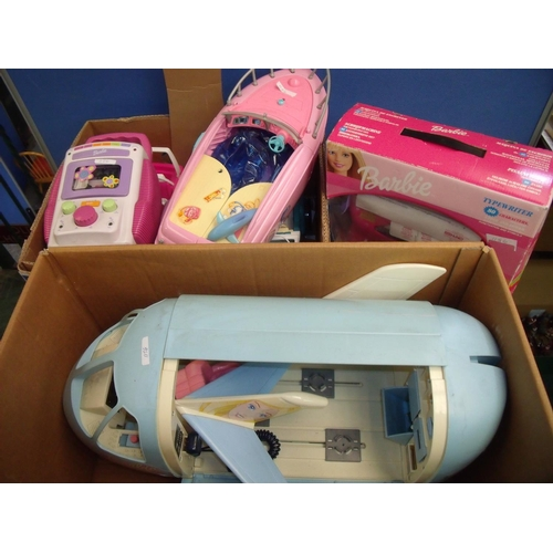 304 - Large Barbie aircraft and a selection of other Barbie accessories including jeeps, speedboats etc...