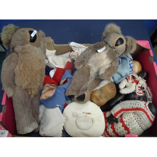 307 - Selection of various soft toys, dolls, clothing etc...