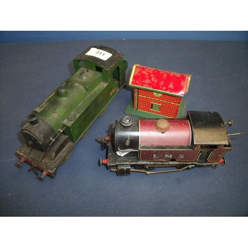 311 - Hornby clockwork LMS 2270 tank, Great Western 567 tank, and a small tin plate signal cabin (3)...