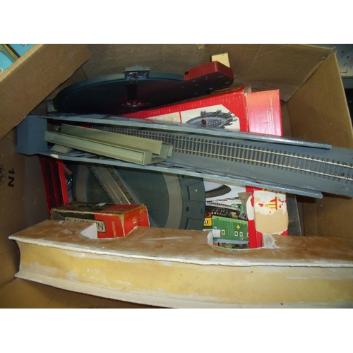 312 - Box containing a large quantity of Hornby and other OO gauge accessories including turntables, bridg...