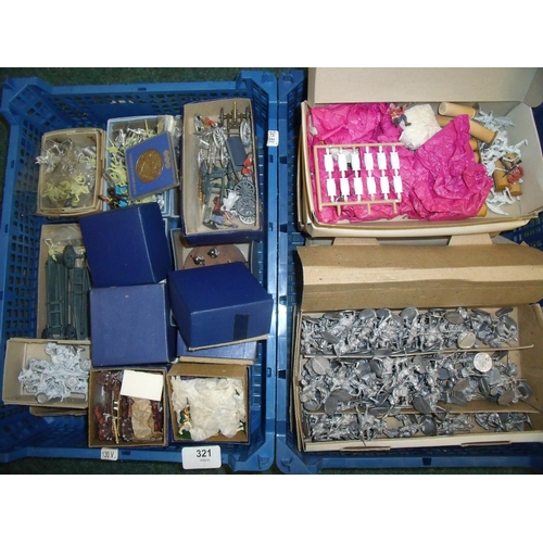 321 - Extremely large quantity of cast metal military miniatures, mostly 18th/19th C era, in two boxes...