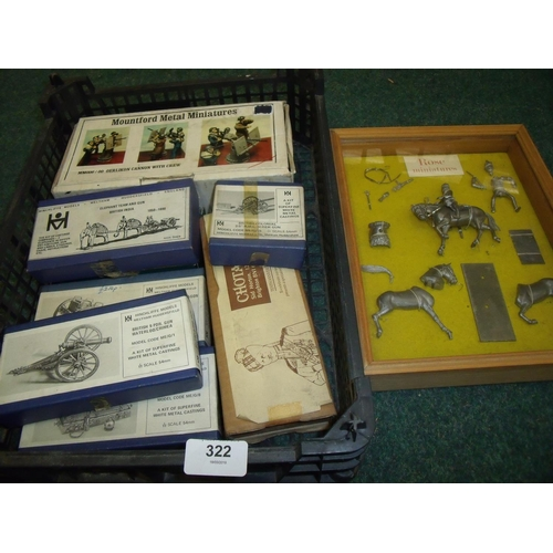 322 - Selection of boxed unmade cast metal military miniatures including Hinchliffe Models Elephant Team a...