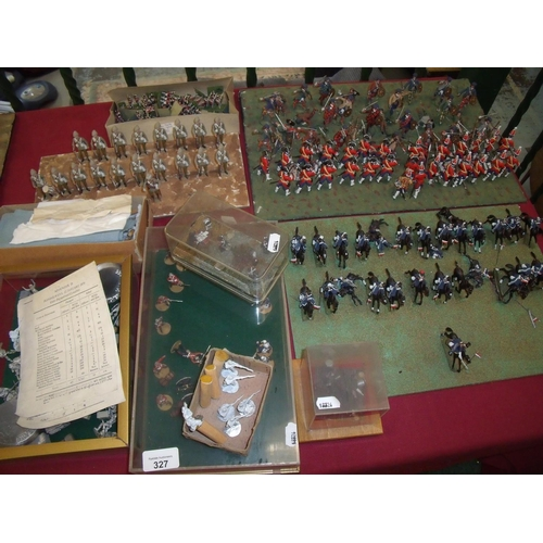 327 - Large selection of various scale cast metal military miniatures, mostly with painted finish, set out...