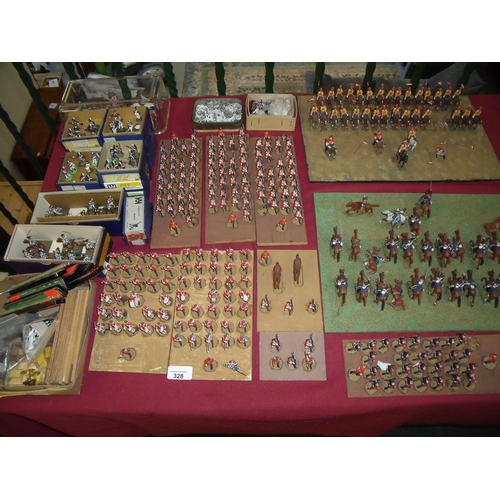 328 - Quantity of various painted cast metal military miniatures mostly painted, mounted and set out in sc...