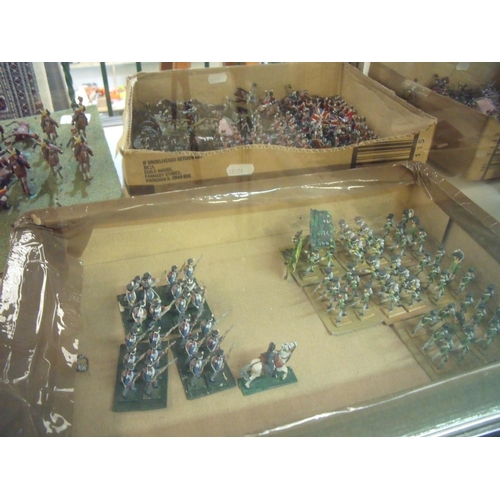 336 - Quantity of painted cast metal military miniatures including infantry, cavalry etc including mounted...