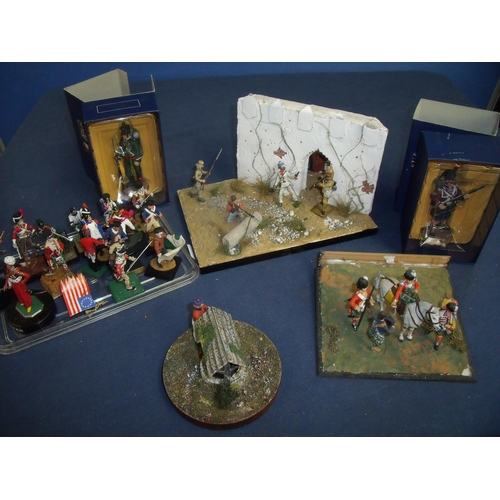 338 - Quantity of various cast metal military miniatures including scenic layouts, individual pieces, and ...