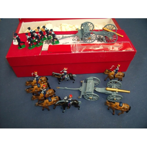 340 - Boxed and painted scale cast metal miniatures Naval gun team and another horse drawn artillery team ...