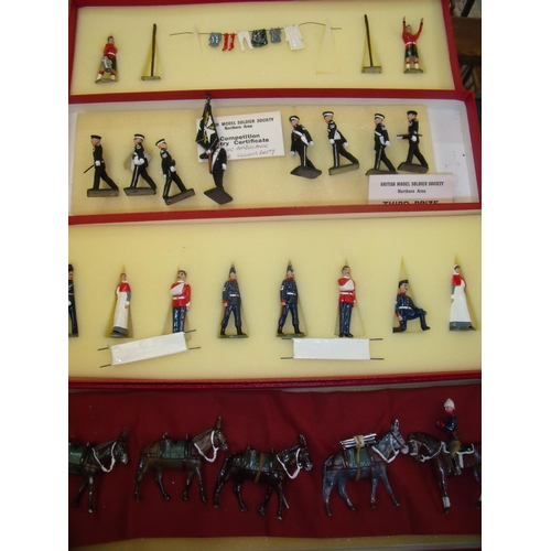 341 - A set of St. Johns Ambulance Brigade Colour Party painted miniature models with British Model Soldie...