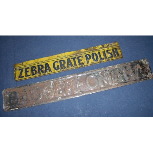 35 - Two vintage tin advertising signs, one for Zebra Great Polish and another with embossed detail for B...