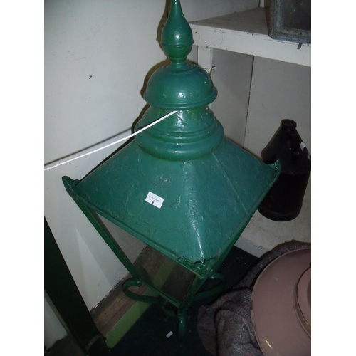 4 - Victorian street light lantern top painted in green, with fixing bracket...