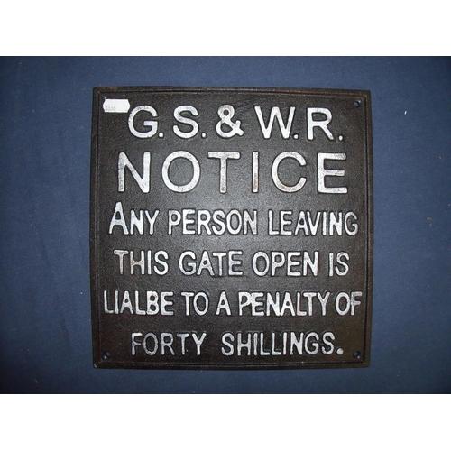 40 - Reproduction cast metal G.S & W.R Penalty Notice (26.5cm x 26.5cm)...