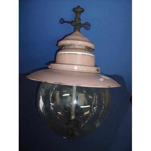 5 - Suggs style enamel gas bulbous globe centre light...