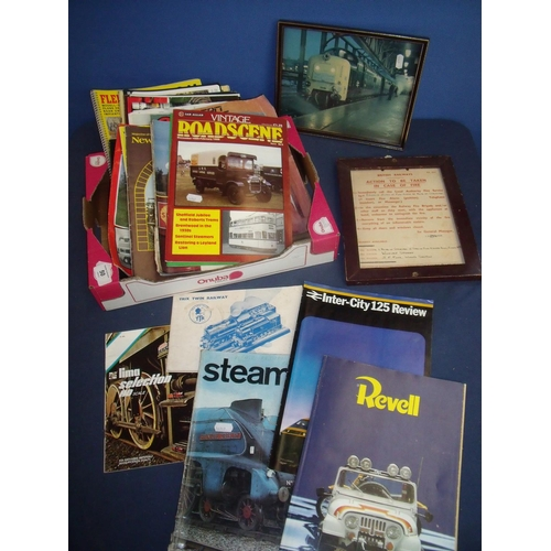 50 - Selection of various Ian Allan publications, magazines etc including Vintage Road Side, framed print...