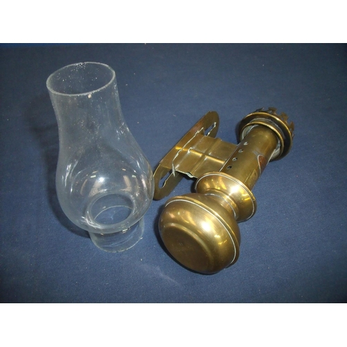 51 - Reproduction brass railway carriage wall mounted oil lamp with glass shade...