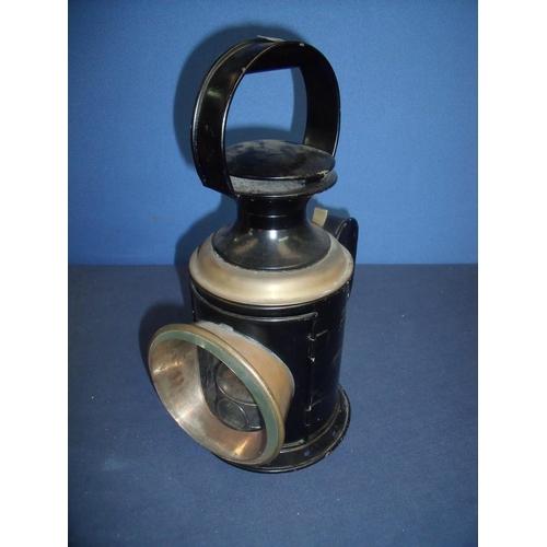 59 - Railway hand lamp with brass mounts...