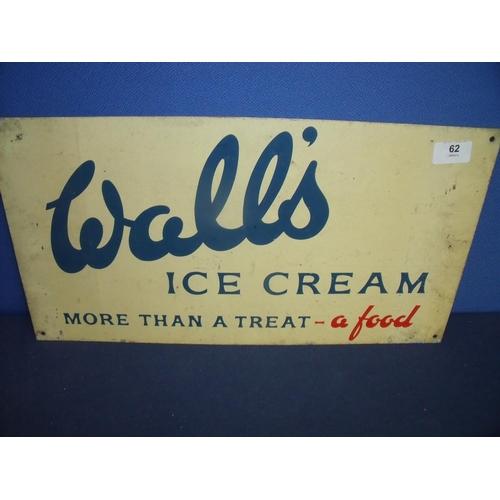 62 - Walls Ice-Cream aluminium advertising sign (48cm x 25.5cm)...