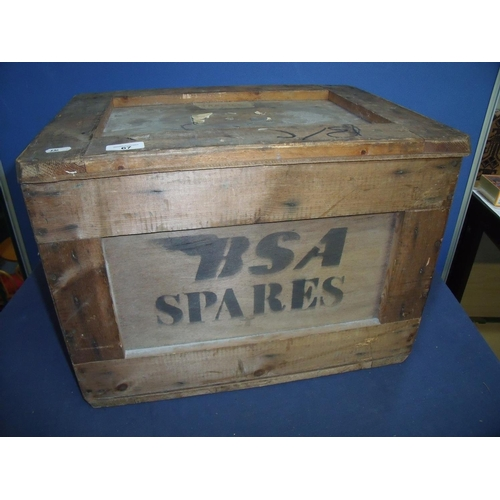 67 - Vintage wooden packing crate with lift-off lid marked Spares (50cm x 37cm x 37cm)...
