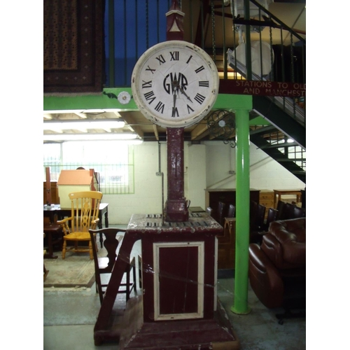 73 - GWR platform double sided clock and destination board, similar example to one found at Rochdale Stat...