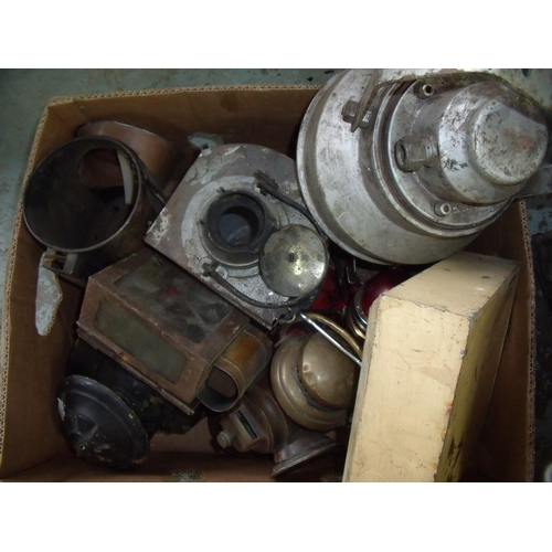 75 - Selection of various part railway lamps, hand lamps etc in various states of repair...