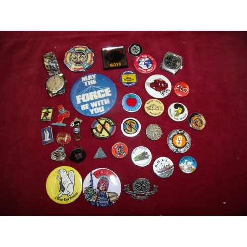77 - Collection of various assorted badges, lapel badges etc including an early enamel Golden Shred Golly...