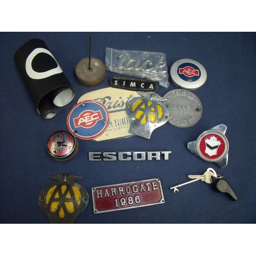 78 - An AA car badge, a Bristol Eastern Coach Works plaque and other plaques, Bedford pub plaque, a bus n...