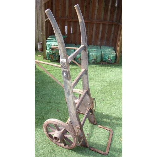 80 - Large vintage wooden and metal porters trolley...