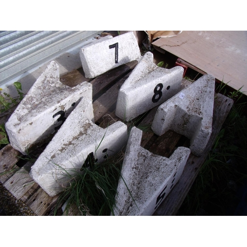82 - Selection of white and black painted railway cast stone track side number markers (6)...