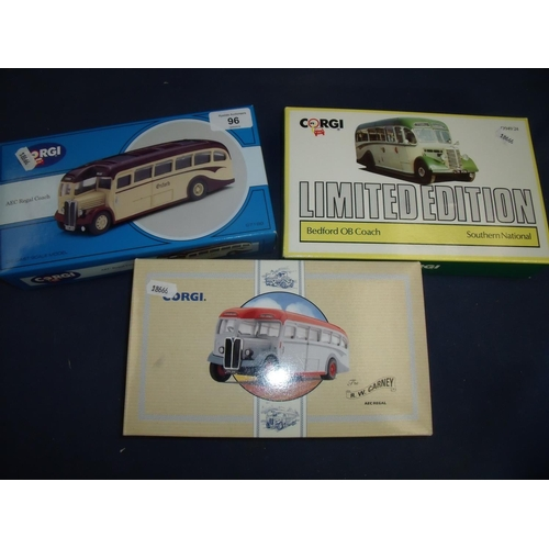 96 - Boxed Corgi AEC Regal Coach, similar limited edition Bedford OB Coach Southern National and another ...