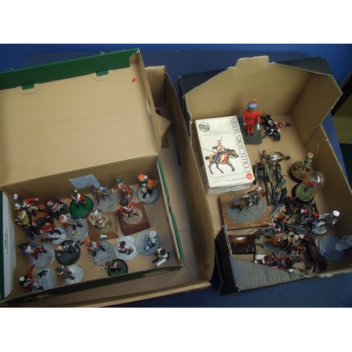 316 - Large collection of mostly cast metal military miniatures of mainly Napoleonic era and of various sc...