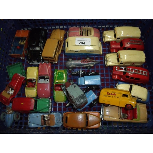 204 - Tray containing a selection of various vintage Dinky diecast vehicles including Bedford 480, motorbi...