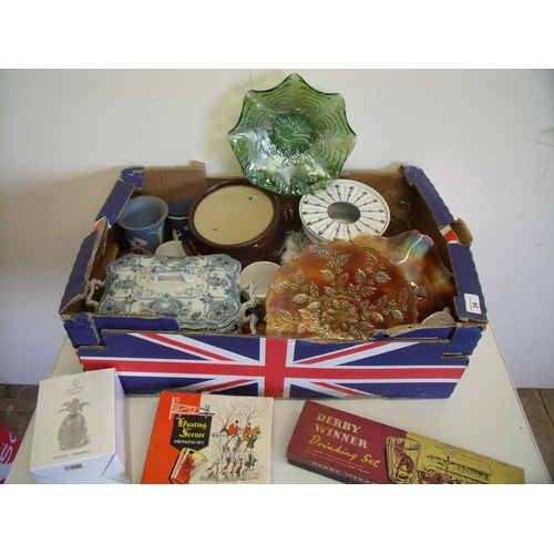 24 - Box containing a mixed selection of pottery including Wedgwood plates, some carnival glass, a Derby ...