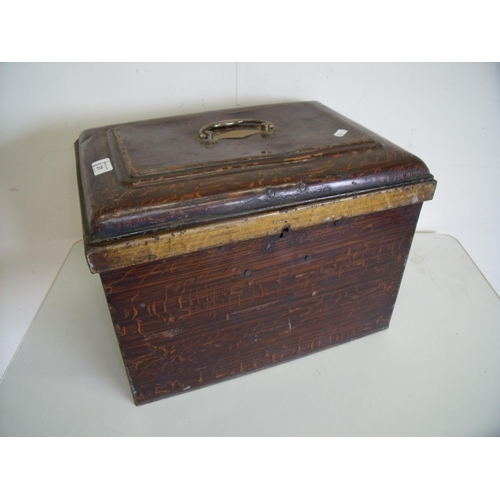 31 - Late Victorian painted metal box with hinged top (30cm x 41cm x 28cm)...