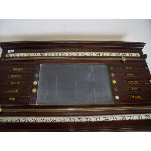 43 - Quality 19th/20th C billiards scoreboard by Burroughes and Watts London...