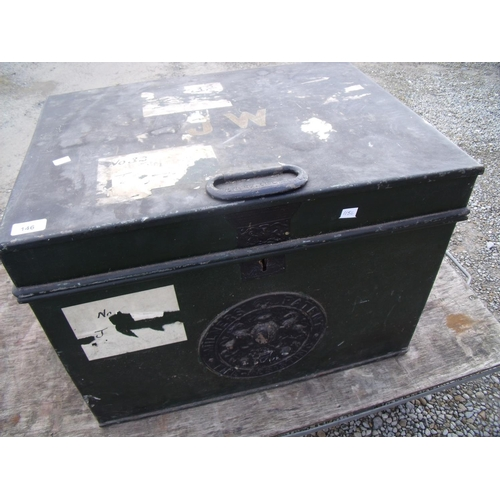 41 - Milner's Patent fire resistant safe of rectangular form with hinged lift up lid and twin carry handl...