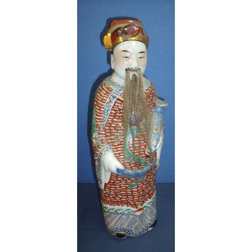 1 - Chinese porcelain deities from the trio of the stars of happiness. Sage type figure with inset hair ...