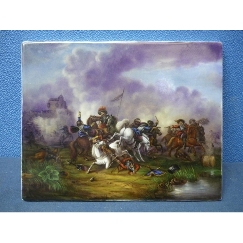 7 - 19th C rectangular porcelain tile plaque with painted detail of continental style Calvary battle sce...