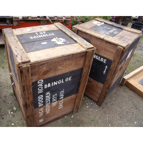 130 - Two wooden shipping crates with logos and labels...