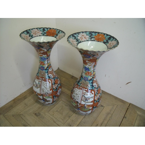 19 - Extremely large pair of flared rim Japanese Imari pattern vases with 6 digit signature panel to the ...
