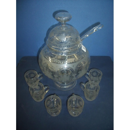 20 - Edwardian quality glass punch bowl, ladle and set of six cups with engraved detail...