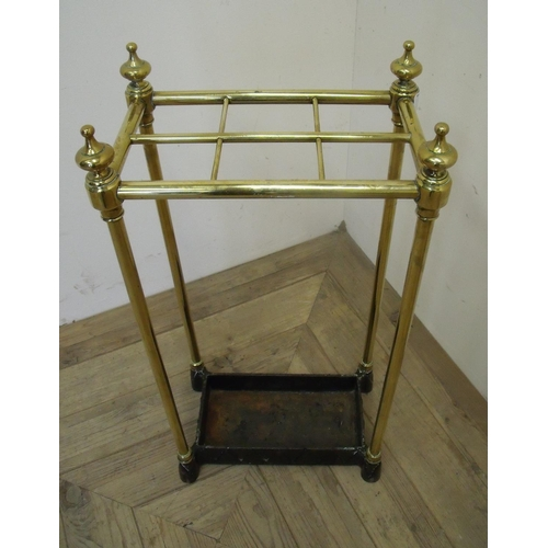 69 - 19/20th C brass and cast metal rectangular six sectional stick stand (30cm x 20cm x 63cm)...