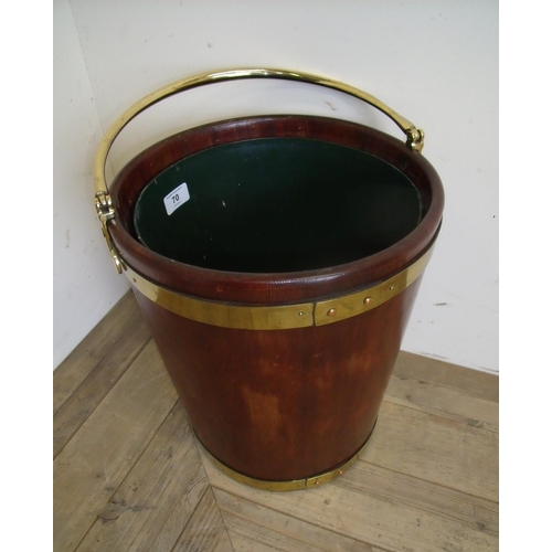70 - Early 19th C style mahogany and brass bound heat bucket with swing handle and later tin liner...