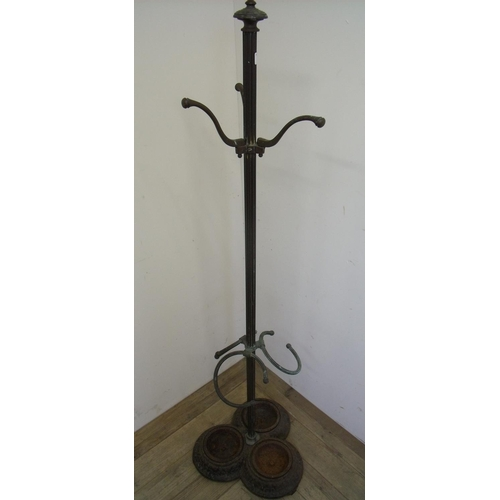 71 - Unusual early 20th C brass hat, coat and stick stand with fluted central column and three stick sect...